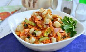 """Салат """"Обжорка"""" с фасолью и копченой колбасой, пошаговый рецепт с фото"""