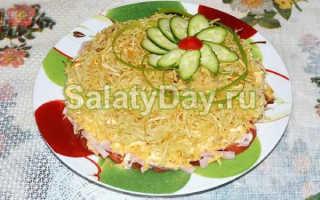 """Салат """"Блондинка"""", рецепт с фото с жареной картошкой и мясом"""